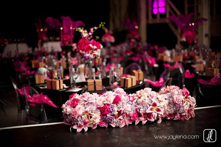 Hot pink floral pomanders