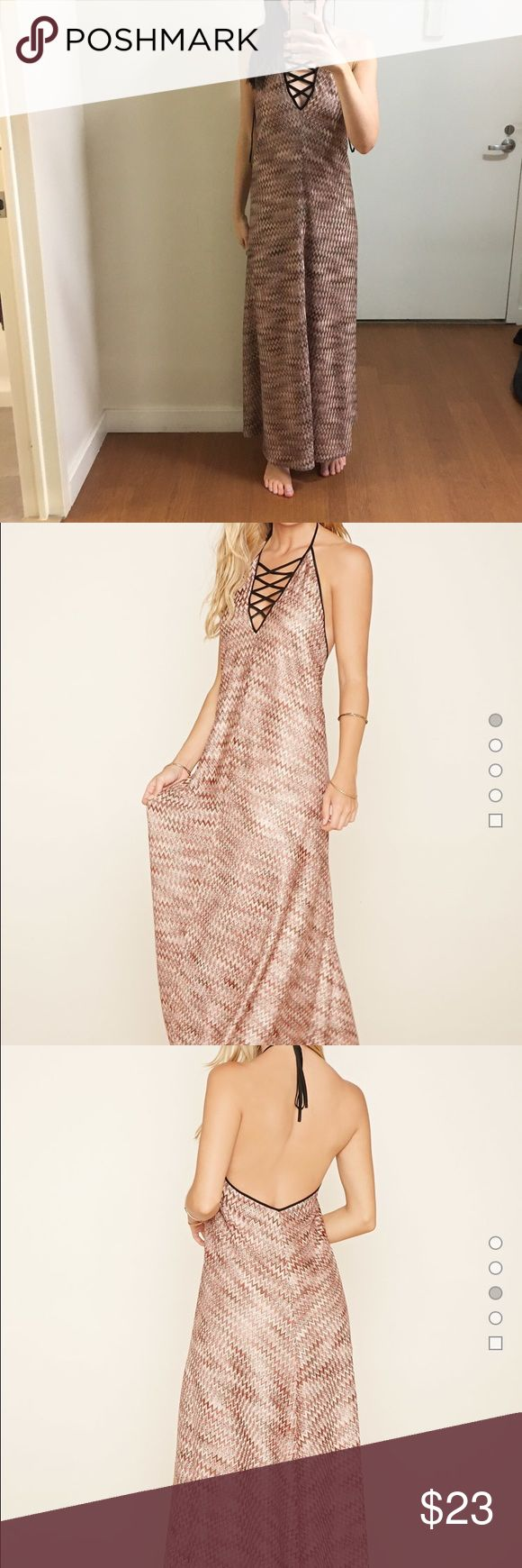 Chevron Halter Neck Maxi Dress Burgundy/taupe. New with tag. Forever 21 Dresses Maxi
