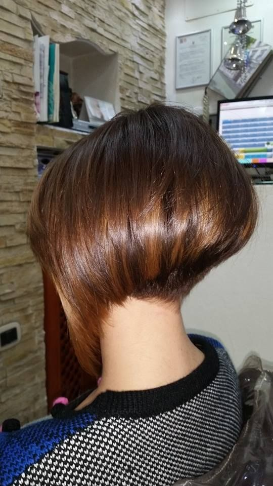 Brunette bob hairstyle fetish double