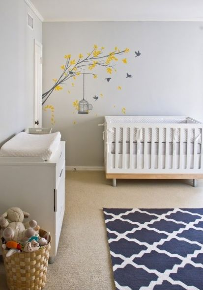 Suzie: Turquoise LA - Adorable gray & blue gender neutral nursery design with gray walls paint ...