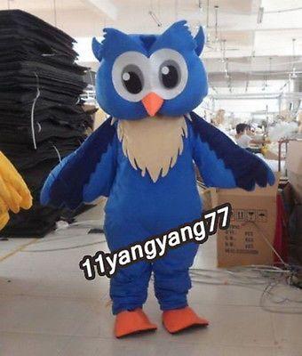 New Arrival 2016 Big Blue Owl Cartoon Mascot Costume Character Fancy Dress Adult
