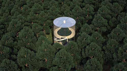 Casa in vetro con un albero all'interno con vista mozzafiato