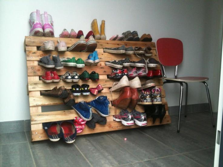 rangement chaussures en palette