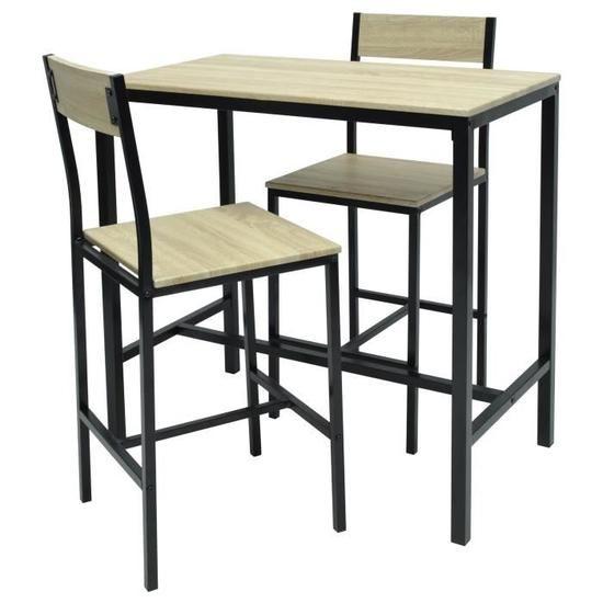 MIMOZA Ensemble table haute de 2 à 4 personnes + 2 chaises de bar - Style 48e709a49969