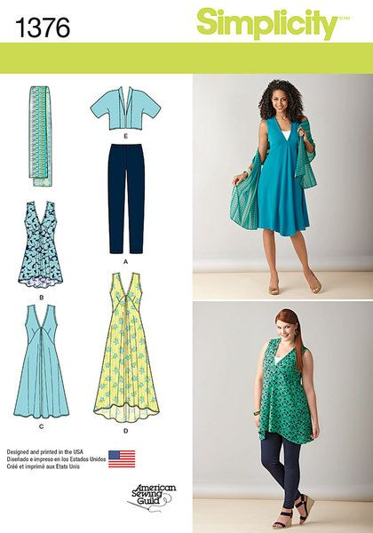 Misses' and plus size pattern includes everything you need for stylish yet comfortable looks. Pattern includes cropped jacket, ankle length hi-lo dress, knee length dress, scarf and knit leggings with elastic waistband.