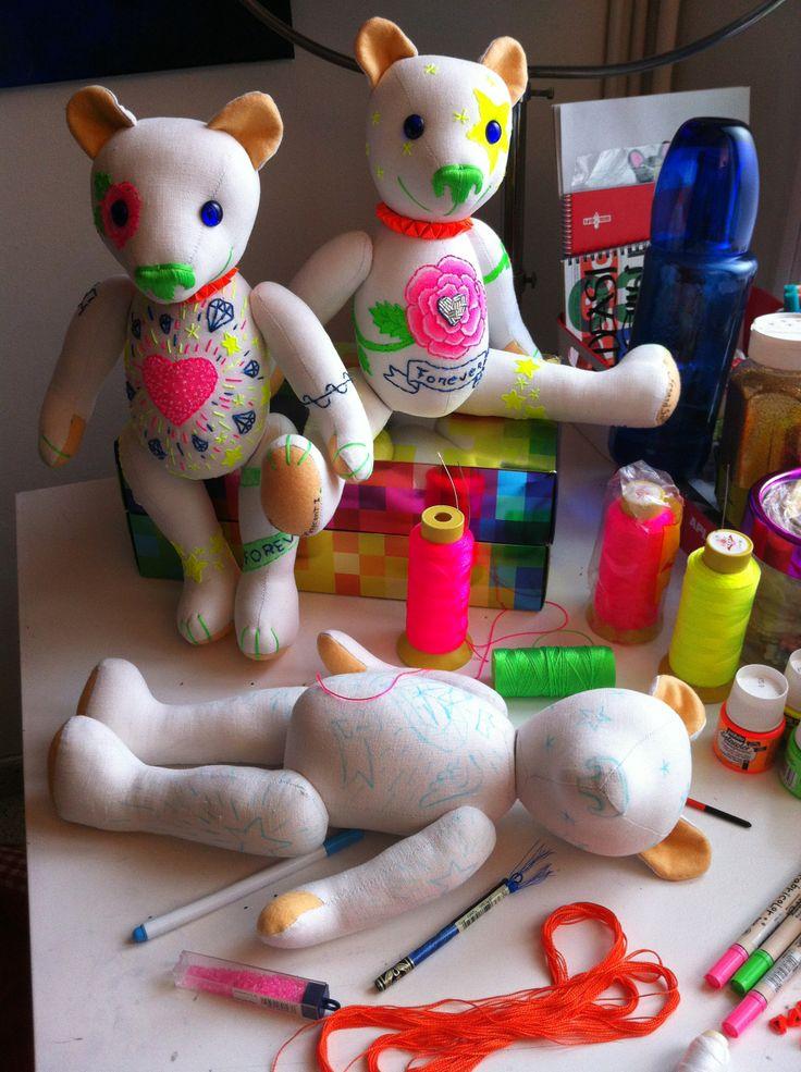 Fluor Family Teddy Bears on process!  by GSBears