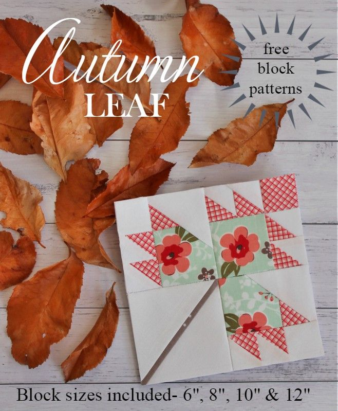 Threadbare Creations- Free Autumn Leaf Block Pattern (4 sizes)