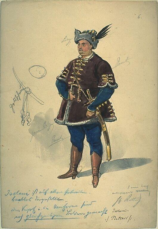 Kostümentwurf für die Figur des Isolani, General der Kroaten, aus 'Wallenstein' von Friedrich von Schiller | Franz Gaul | Bildindex der Kunst & Architektur