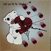 медведь с сердечком, валентинка,