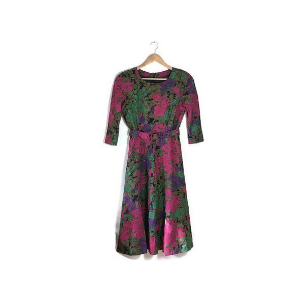 Vintage 90s dress / 50s style dress / floral prom dress / boho