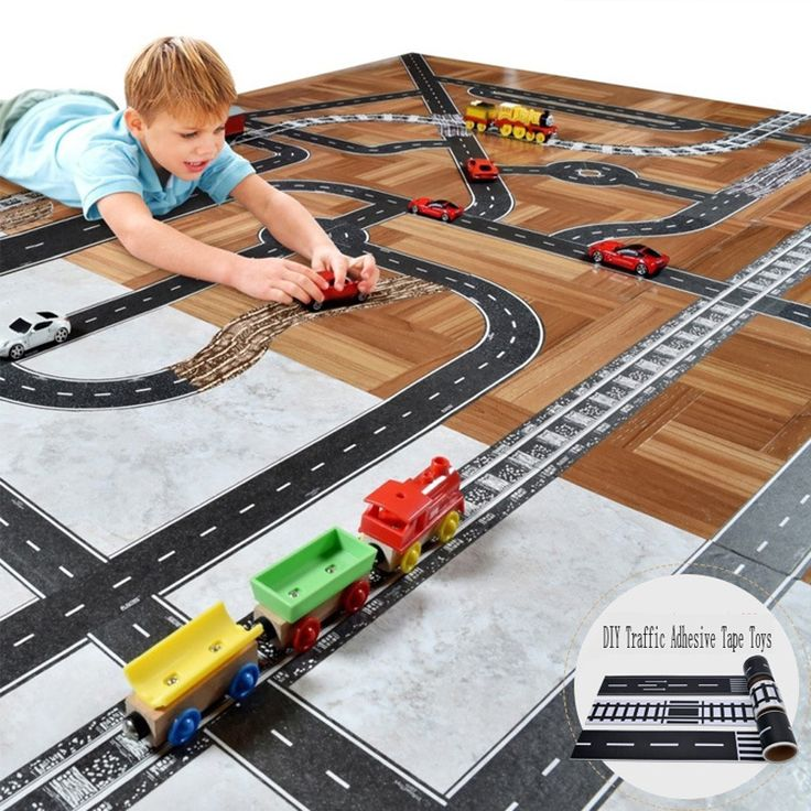 Kid Puzzle DIY Traffic Adhesive Tape Toys Develop Children Imagination Familiar with Traffic Rules DIY Traffic Adhesive Tape TOY