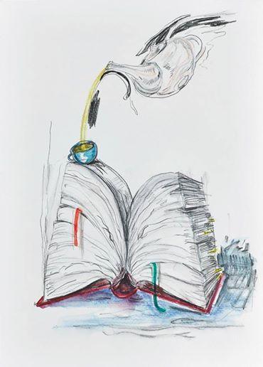 Wolfgang Neumann, 2014 Bleistift und Aquarellstift auf Papier Pencil and watercolor pencil on paper, 35 x 25 cm  In: Aras Ören, Kopfstand, Seite 97 / page 97