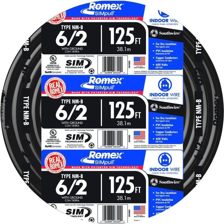 Southwire 125 ft. 6-2 Black Stranded CU SIMpull NM-B Indoor Residential Wire #Southwire #Wire #ElectricalWire #Electric #Electrical #Industrial #IndustrialWire