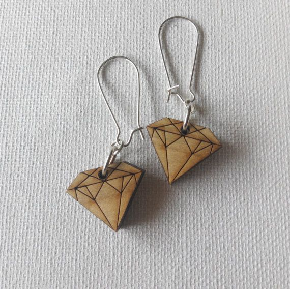sustainable wood diamond earrings. wood jewellery. by terramor