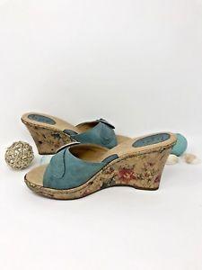 b4dd1a94b18b BOC Born Concept Womens Shoes Sz 8 Teal Wedge Sandal Floral Cork Heel