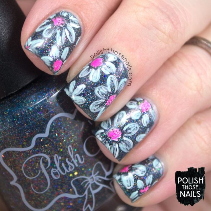 La Fairy Florals // Polish Those Nails // The Digit-al Dozen - Stamping // Inspired by Dixie Plates's DP02 plate // nail art - flowers - polish 'm - china glaze - free hand