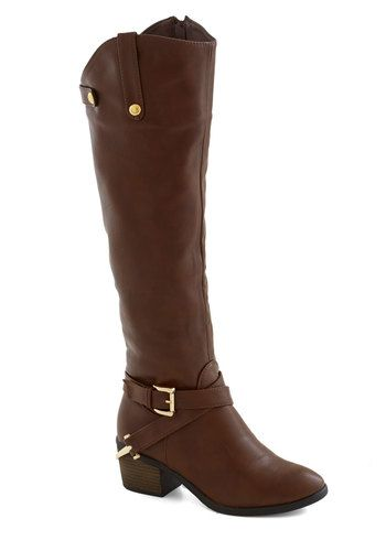Fall Foal-iage Boot, #ModCloth I hope they restock these, might be just what I was looking for. I love the little stirrup at the heel. Slight heel, just enough to make them comfortable to wear all day. Nice and tall. This will look great with dresses, tights, and OTKs for fall