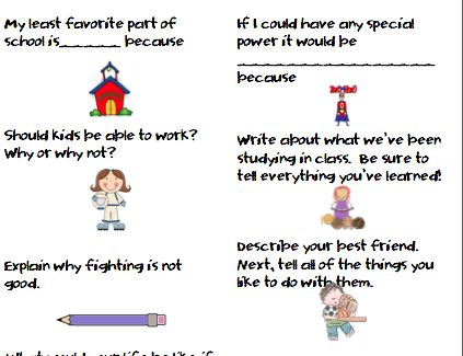 personal essay prompts elementary Elementary school narrative essay prompts 1 advanced elementary narrative prompt think of your favorite birthday and what made it so special write a narrative essay with a beginning, middle and end that shows what happened during your birthday, how it made you feel, and why it was important.