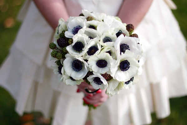 Anemones with berry accents