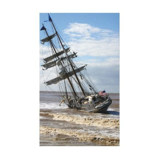 Grounded Ship Canvas Prints