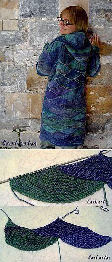 """Пальто """"Та еще змея!"""" (мастер-класс - вязание чешуи)... пэчворк...."""