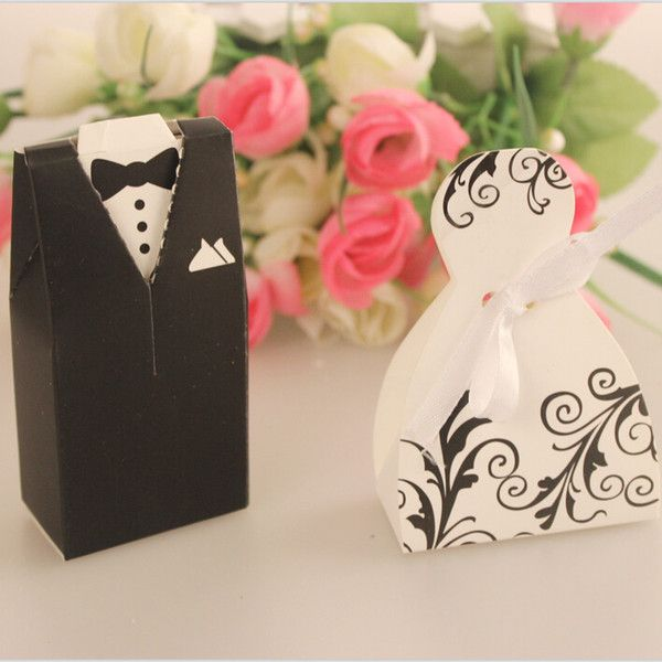 Whole 100pairs Lot Bride And Groom Wedding Favor Box Guests Giveaway Candy Gift Bo
