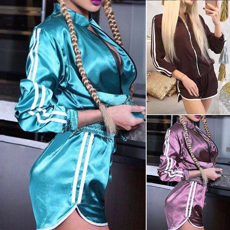 2Pcs Women Fashion Casual Long Sleeve Sport Running Tops+Shorts Athletic Apparel