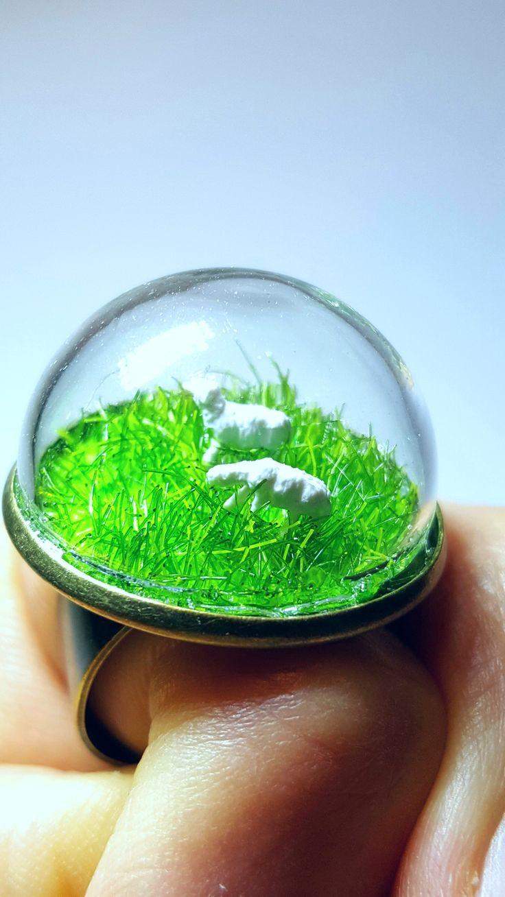 Miniature Mini Sheep Farm Ring - Mini Terrarium Ring, Moss Terrarium, Fairy Garden, Gift, Natural, Forest Ring Glass Dome. FREE SHIPPING!