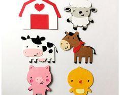 6 4 inch Barnyard Animal Cutouts Farm by GraceGigglesandGlue