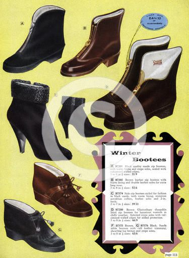 Ladies winter boots, page from a catalogue, 1950s.