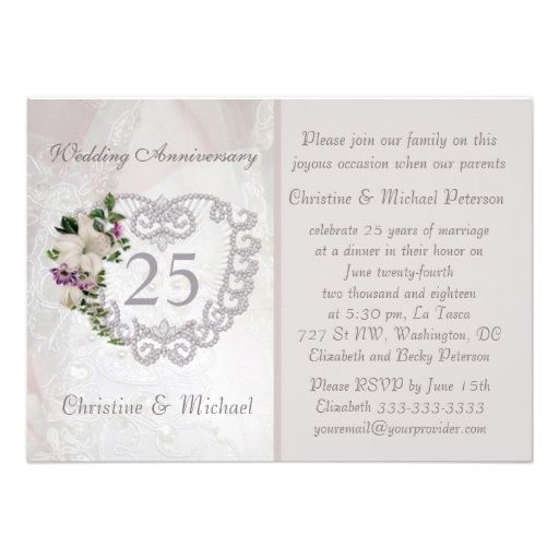 Silver Heart And Lily 25th Wedding Anniversary Card