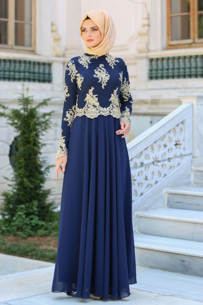 Evening Dress - Lace Detail Navy Blue Hijab Dress 76465L Evening Dress, Neva Style NEVA STYLE