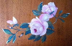 Tea table with hand painted roses on the top. © All rights reserved