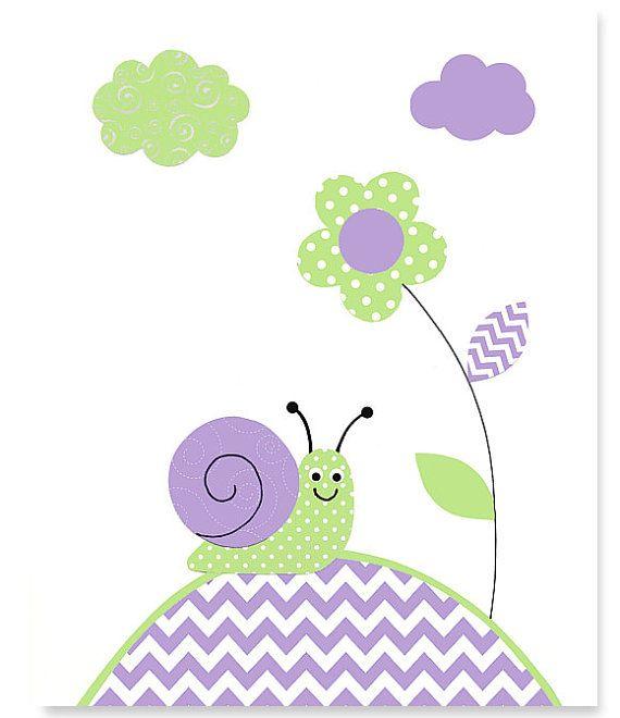 LIQUIDACIÓN!!!!!!  Lona verde y morado vivero arte imprimir arte de la lona de caracol chica habitación decoración venta 11 x 14 lona impresión vivero