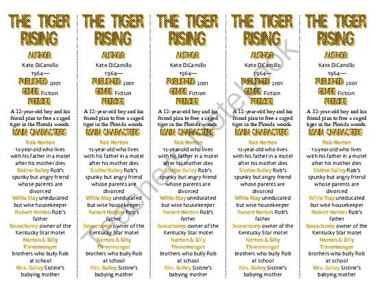Bookmarks Plus: The Tiger Rising edition--A Handy Little Reading Aid! from Word-wise Educational Products/Pegi Rose on TeachersNotebook.com -  (4 pages)  - BOOKMARKS PLUS� are handy reproducible comprehension tools for literature: fiction, nonfiction, and plays. They provide information about the author, characters, setting, and themes, as well as a list of defined vocabulary words.
