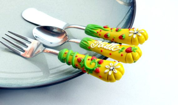 Hey, I found this really awesome Etsy listing at https://www.etsy.com/listing/216686408/yellow-kids-silverware-red-strawberry
