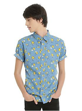 """<p>Getting dressed up can be an adventure all its own! Make the adventure a little more enjoyablewith this shirt from Cartoon Network! The blue short-sleeved woven features an allover print of Finn the Human and Jake the Dog from <i>Adventure Time</i> in various different poses. Wear it dressy or casual and always be ready for anything!</p>  <ul> <li style=""""LIST-STYLE-POSITION: outside !important; LIST-STYLE-TYPE: disc !important"""">100% cotton</li> <li style=""""LIST-STYLE-POSITION: outs..."""