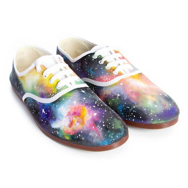 Hand painted Galactic lace up plimsolls  £99.99