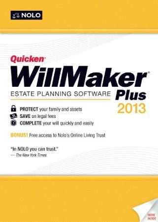 Quicken WillMaker Plus 2013 is the easiest way to create your estate plan, whether it's your first time or you want to update a previous plan. You'll be guided through the process from beginning to end with practical and relevant legal information so you can make the best decisions for you and your family.Price: $46.43  Your #1 Source for Software and Software Downloads  Ultimatesoftwaredownload.com