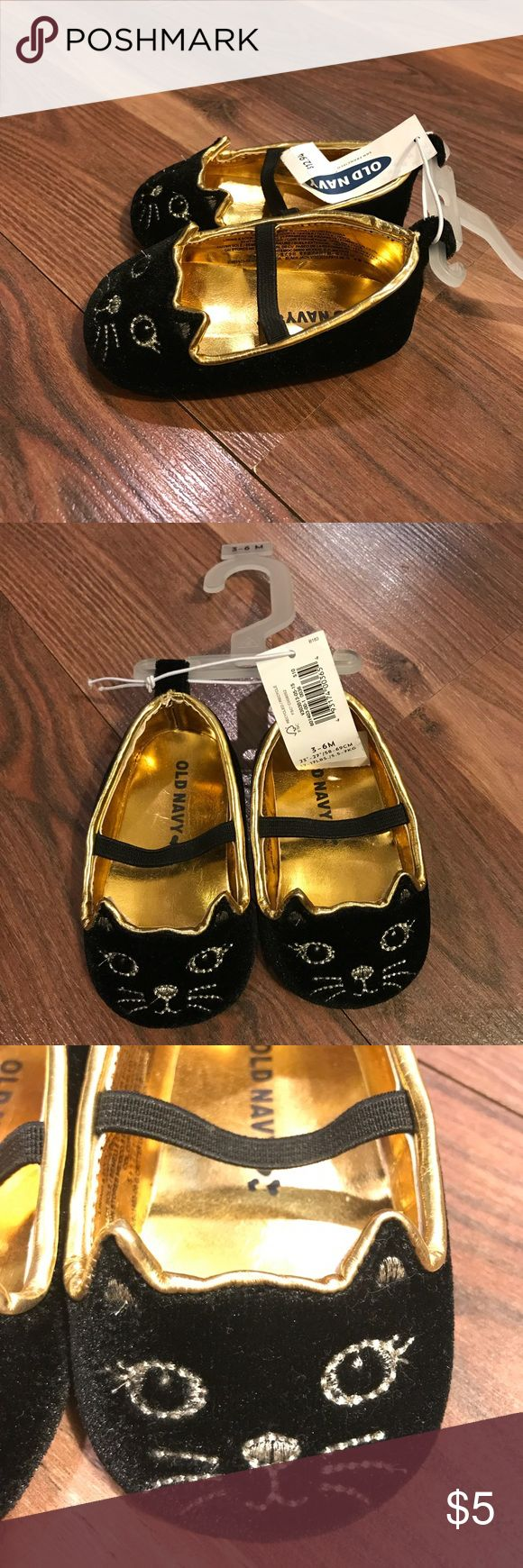 Cat Face Crib Shoes for Little Girls -Brand new  - Black and Gold - velvet shoes Old Navy Shoes Dress Shoes