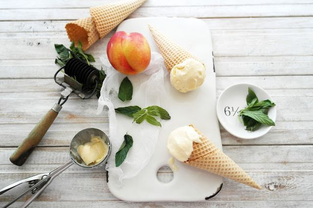 i got a punnet of peaches the other day and decided to make some icecream. i added mint to make it taste fresh, the combination went together really well. recipe 2 cups cream 1 cup skimmed milk 1/2 cup sugar 4 egg yolks vanillapod 3large peaches hand full of mint honey preheat the oven to …