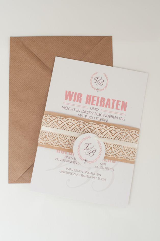 Einladungskarten - 50x mehrteilige Vintage-Einladung mit Spitze - ein Designerstück von schneidersfamilybusiness bei DaWanda