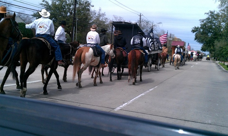 Best kind of traffic jam - trailriders arriving in Houston for Houston Rodeo & Livestock show