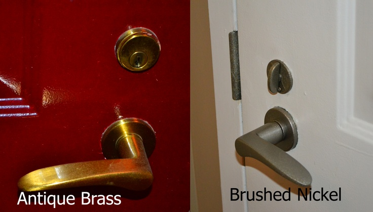 Changed Doorknob From Antique Brass To Brushed Nickel With