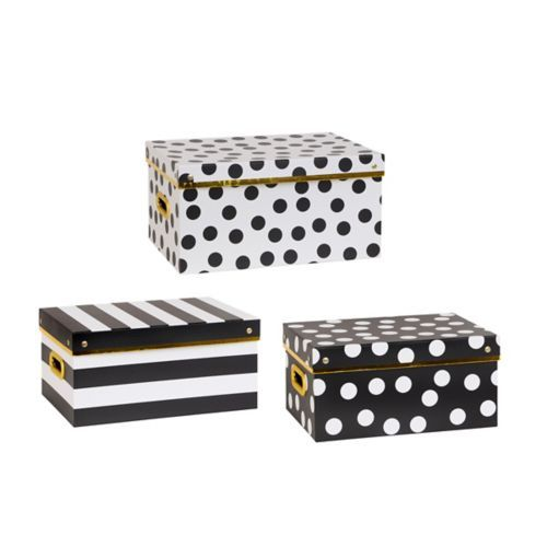 Black and White Storage Boxes, Set of 3   Kirklands What looks more classic and classy than the combination of black, white, and gold? Keep your things organized in high style with this set of Black and White Storage Boxes. Set includes three (3) boxes Small storage box measures 8.5L x 12W x 5.75H in. Medium storage box measures 9.25L x 13.5W x 6.5H in. Large storage box measures 10L x 15W x 7.75H in. $27.74