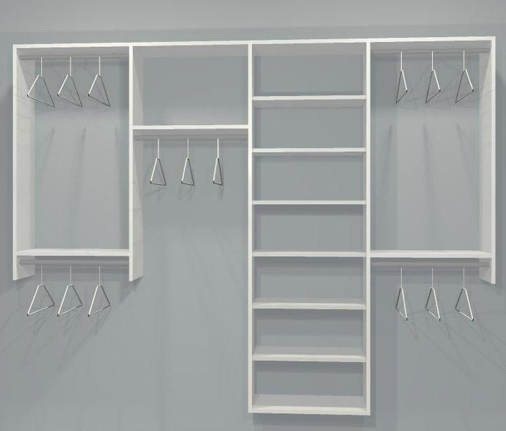 reach in closet layouts for his and her standard closet kit w shelving