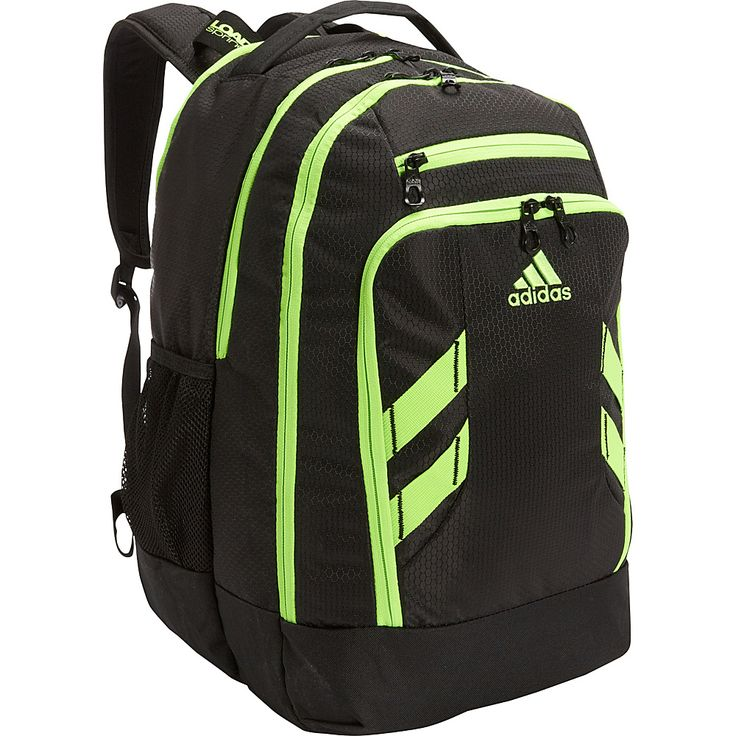 Image of adidas Rush Backpack Black/Solar Green - adidas Laptop Backpacks