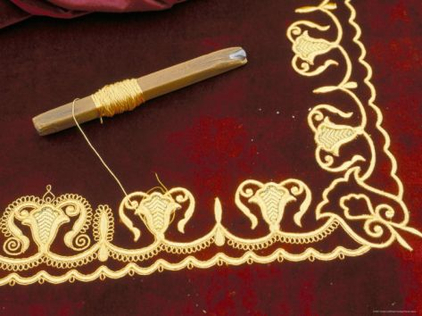 Close-Up of Gold Work Embroidery, Bokhara, Uzbekistan, Central Asia.