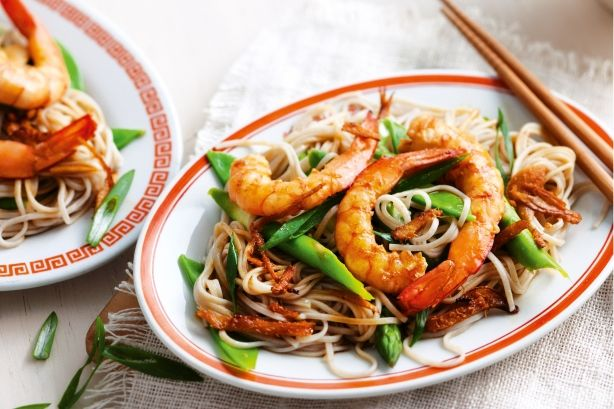 Chill out with a plateful of sweet prawns and cool, tangy Japanese noodles.