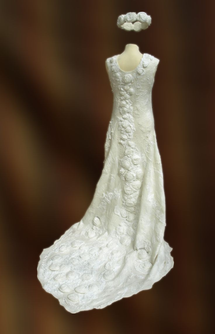 Nuno-felted wedding dress, which was a finalist in the RDS National Craft Competion 2014. Felted as a single piece, no seams, including the rose flower embellishments.